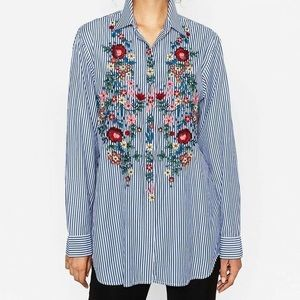 Zara Embroidered Striped Oversized Button Down
